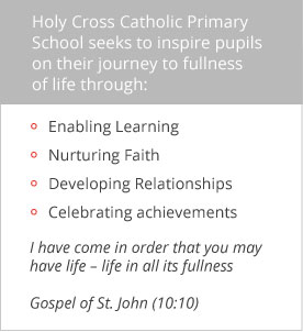 Holy Cross Catholic Primary School seeks to inspire pupils on their journey to fullness of life through Enabling Learning, Nurturing Faith, Developing Relationships and Celebrating achievements